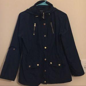 Style & Co. Navy Rain Jacket Petite Small